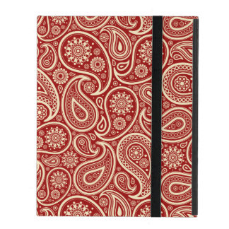 Crimson Red And Cream Vintage Floral Paisley iPad Cover