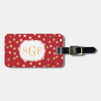 Crimson Red and Gold Glitter City Dots Monogram Luggage Tag