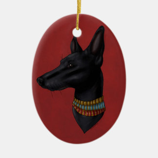 Crimson Red Anubis Ornament