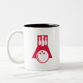 Crimson Red Bowling Two-Tone Coffee Mug