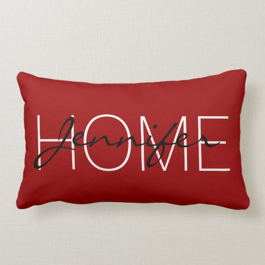 Crimson red colour home monogram lumbar pillow