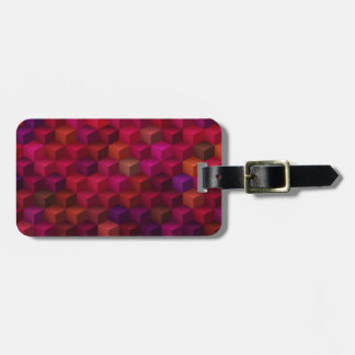 Crimson Red Cubism Cube Pattern Art Luggage Tag