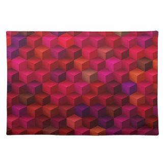 Crimson Red Cubism Cube Pattern Art Placemat