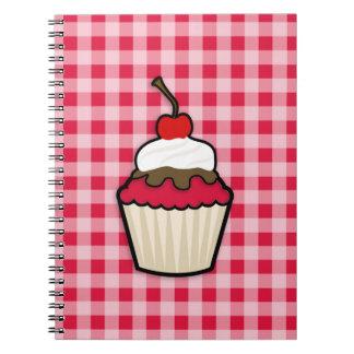 Crimson Red Cupcake Spiral Notebooks