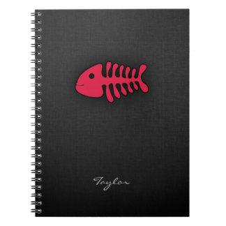Crimson Red Fish Bones Notebooks