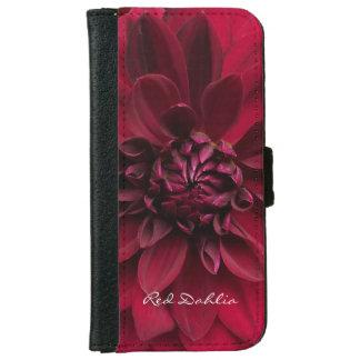 Crimson Red Garden Dahlia Flower iPhone 6 Wallet Case