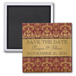 Crimson Red & Gold Regal Damask Save the Date Square Magnet