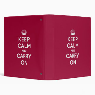 Crimson Red Keep Calm and Carry On Binder