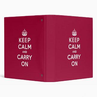 Crimson Red Keep Calm and Carry On Vinyl Binder