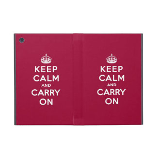 Crimson Red Keep Calm and Carry On (white text) Cases For iPad Mini