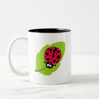 Crimson Red Ladybug Two-Tone Coffee Mug