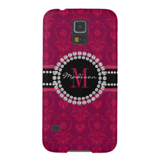 Crimson Red, Magenta Damask, Name and Monogram Case For Galaxy S5