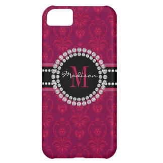 Crimson Red, Magenta Damask, Name and Monogram iPhone 5C Case