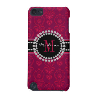 Crimson Red, Magenta Damask, Name and Monogram iPod Touch 5G Case