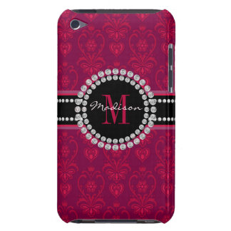 Crimson Red, Magenta Damask, Name and Monogram iPod Touch Case