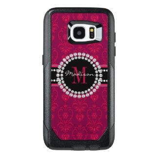 Crimson Red, Magenta Damask, Name and Monogram OtterBox Samsung Galaxy S7 Edge Case