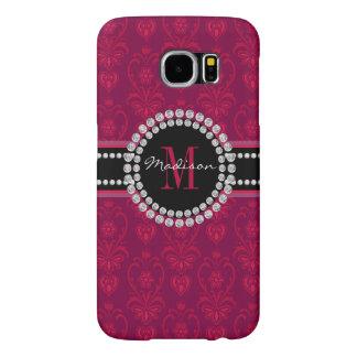 Crimson Red, Magenta Damask, Name and Monogram Samsung Galaxy S6 Cases