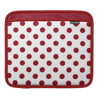 Crimson Red Polka Dots Circles iPad Sleeves