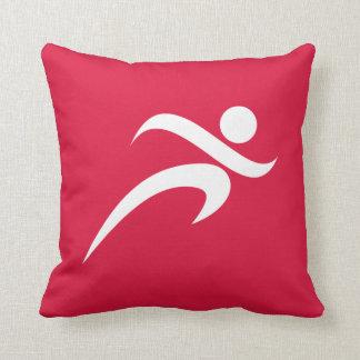 Crimson Red Running Throw Pillow