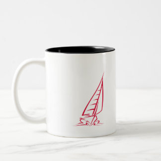 Crimson Red Sailing Two-Tone Coffee Mug
