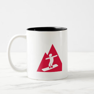 Crimson Red Snowboarding Two-Tone Coffee Mug