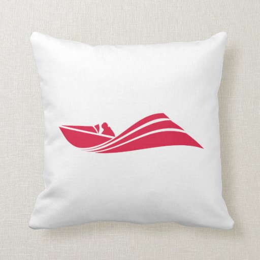 Crimson Red Speed Boat Throw Pillow