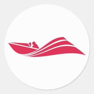 Crimson Red Speed Boat Classic Round Sticker