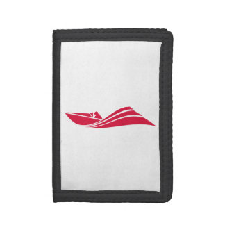 Crimson Red Speed Boat Tri-fold Wallets