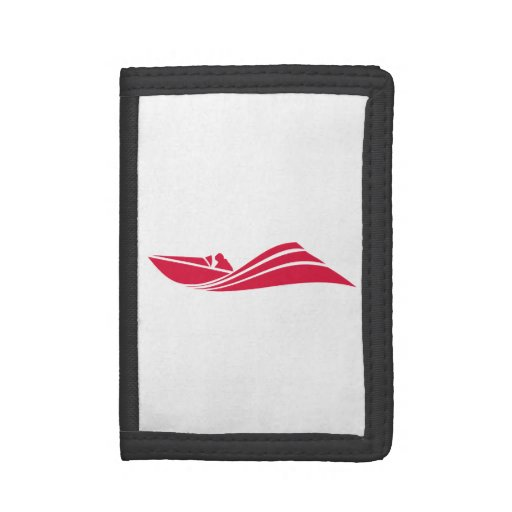 Crimson Red Speed Boat Tri-fold Wallets
