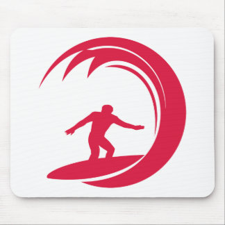 Crimson Red Surfing Mouse Pad