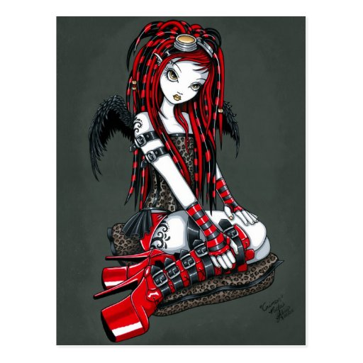 """Crimson"" Red Tattoo Cyber Goth Angel Postcard"