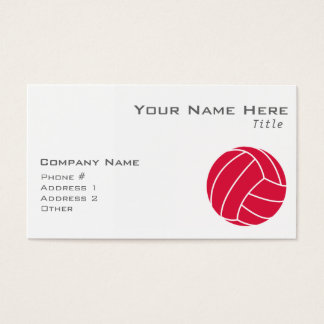 Crimson Red Volleyball Business Card