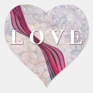 Crimson Ribbon LOVE Heart Sticker