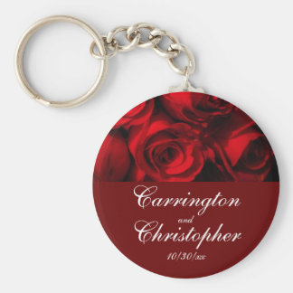 """""""Crimson Rose Bouquet"""" - Personalized [a] Basic Round Button Keychain"""