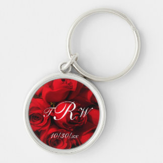 """""""Crimson Rose Bouquet"""" w/ Monogram and Date [a] Silver-Colored Round Keychain"""