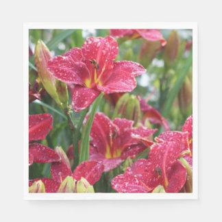 Crimson Shadows Rainy Day Daylilies Paper Napkin