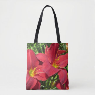 Crimson Shadows Red Day Daylilies, geometric s-2 Tote Bag