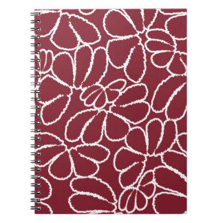 Crimson Whimsical Ikat Floral Petal Doodle Pattern Notebooks