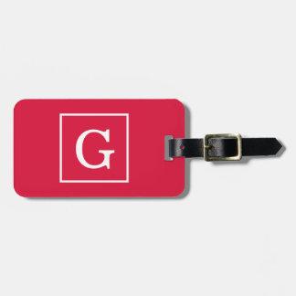 Crimson White Framed Initial Monogram Luggage Tag