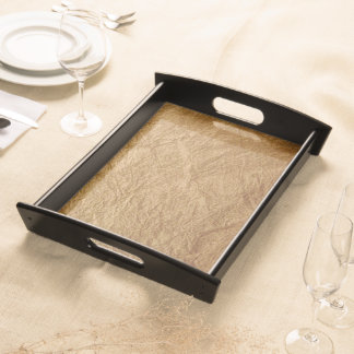 Crinkled Brown Paper Bag Wood Serving Tray. Serving Tray