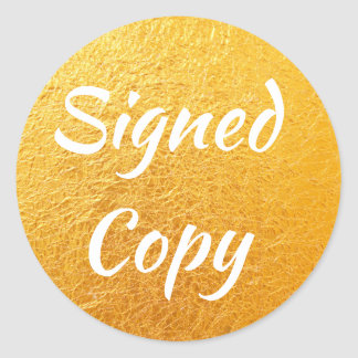 Crinkled Gold Foil Photo Signed Copy Classic Round Sticker
