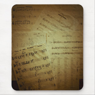 Crinkled Music Sheets Mouse Pad
