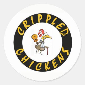 Crippled Chickens Sticker - 1.5 Inch Round
