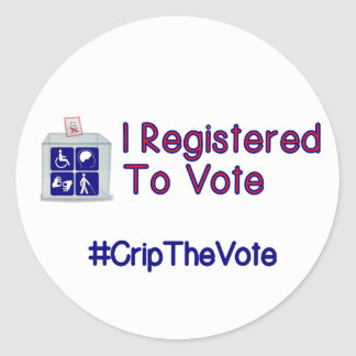 #CripTheVote I REGISTERED stickers (round) small