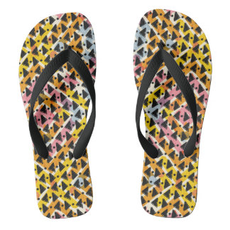 Cris cross look yellow blue pink black stylish flip flops