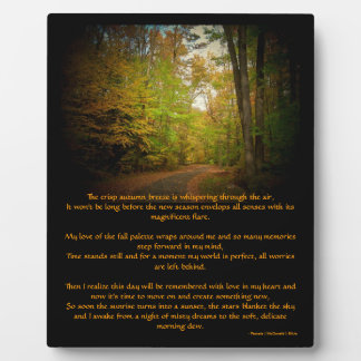 Crisp Autumn Breeze Scenic Poem Easel Photo Plaque
