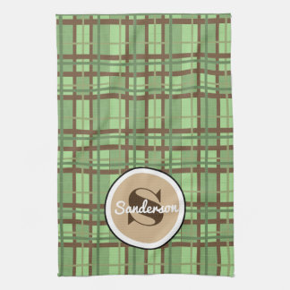 Crisp Brown & Green Contemporary w/Name Kitchen Towel