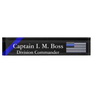 Crisp Clean Thin Blue Line Flag Nameplate