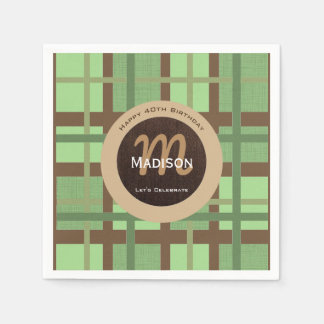 Crisp Green & Brown Contemporary Paper Napkins