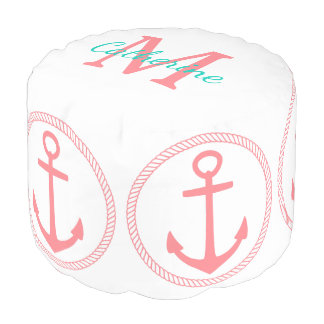 Crisp White and Coral Pink Anchors Monogram Pouf